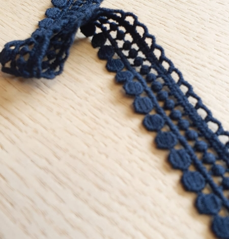 Dark blue macrame lace trimming. Photo 2