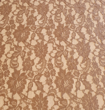 Brown viscose chantilly lace fabric. Photo 6