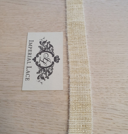 Ivory with gold thread rubber ribbon. Photo 8
