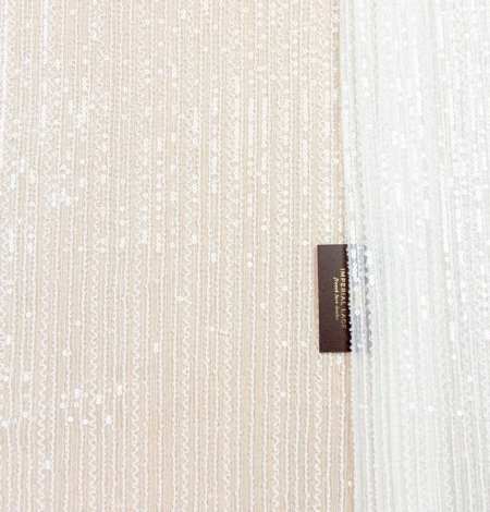 Ivory sequin beaded lace fabric. Photo 4