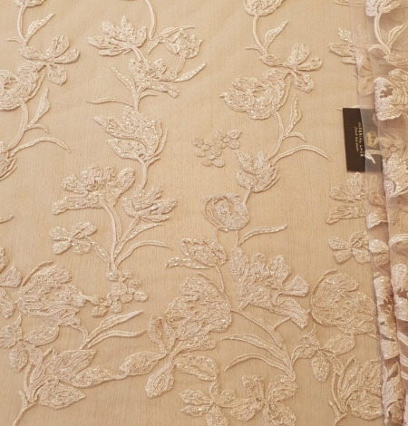 Beige 100% polyester floral pattern embroidery sequins on tulle lace fabric. Photo 7