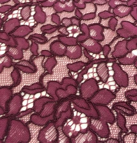 Bordo red floral alencon lace fabric. Photo 3