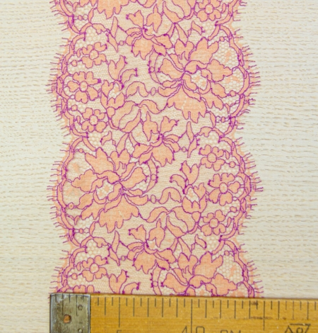 Orange with lilac floral pattern chantilly lace trim. Photo 6