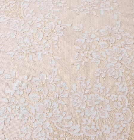 Light blue with gold floral pattern chantilly lace trimming. Photo 3