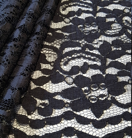 Black Lace fabric with flowers. Photo 1