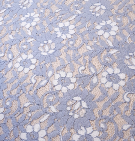 Greyish blue with white floral pattern guipure lace fabric. Photo 2