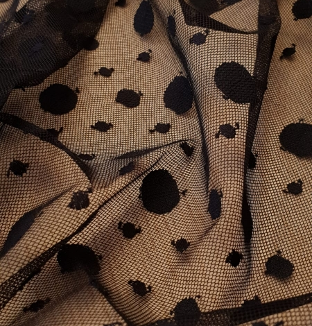 Black 100% polyester abstract circle pattern tulle fabric. Photo 7