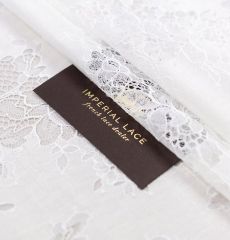 Ivory chantilly with fabric lace . Photo 7