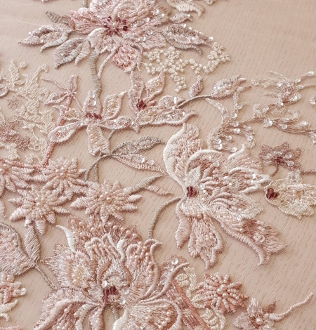 Pink beaded floral lace fabric. Photo 3