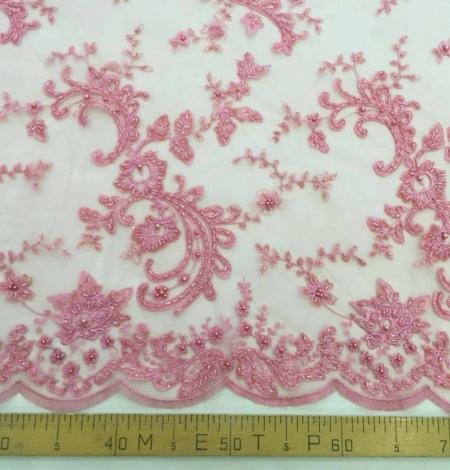 Pink beads Lace fabric. Photo 4