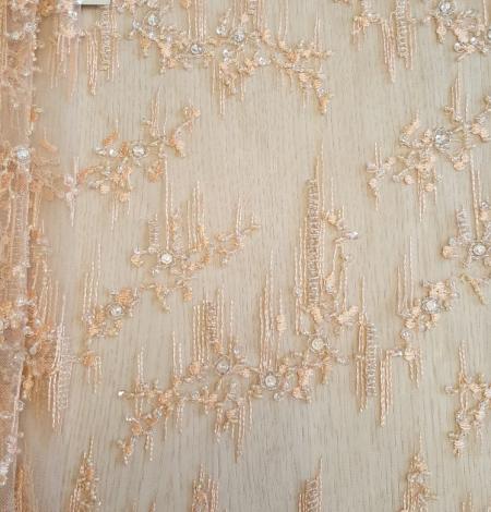 Peach beaded lace fabric. Photo 5