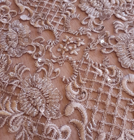 Luxury brown beaded lace fabric. Photo 3