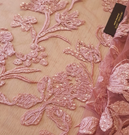 Raspberry pink floral pattern embroidery sequins on soft tulle fabric. Photo 3