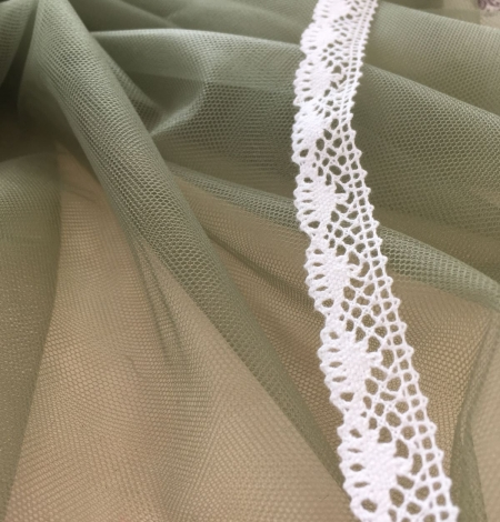 Soft khaki tulle fabric. Photo 7