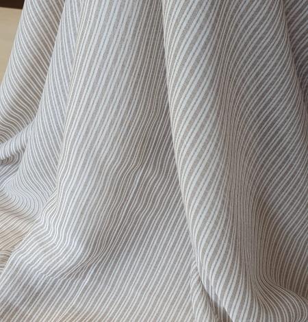 Grey with white stripes viscose fabric. Photo 7
