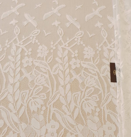 Ivory 100% polyester floral and bird pattern chantilly lace fabric. Photo 11