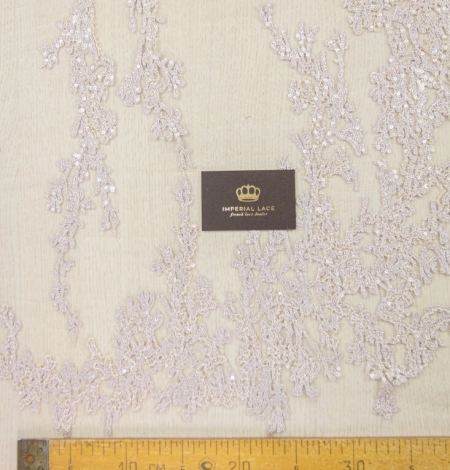 Nude organic pattern embroidery with sequins on tulle fabric. Photo 13