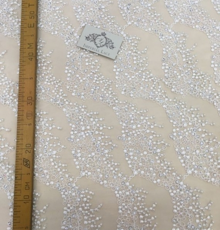 White beaded lace fabric. Photo 5