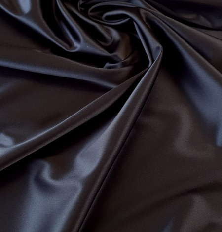 Dark blue satin fabric with elastane . Photo 1