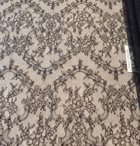Dark navy lace fabric. Photo 2