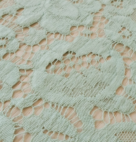 Mint green cotton guipure lace fabric . Photo 2