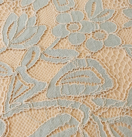 Beige with blue 70% cotton with 30% polyester guipure lace fabric . Photo 4