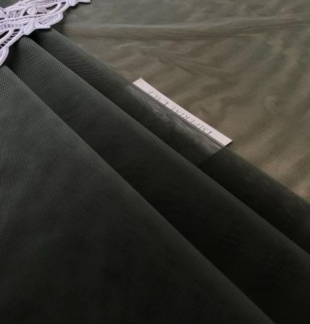 Dark khaki green tulle fabric. Photo 5