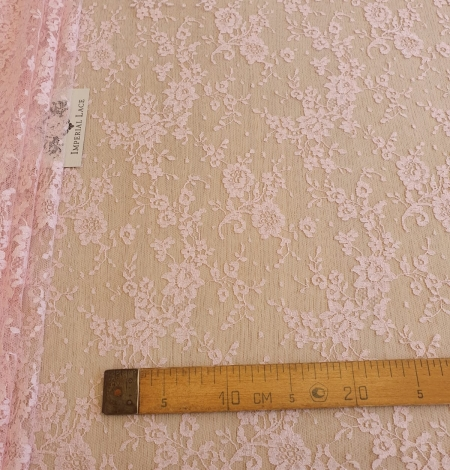 Pink cotton chantilly lace fabric. Photo 6