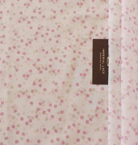 Light pink floral pattern thin batiste fabric. Photo 7