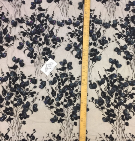 Luxury black 3D flowers lace fabric. Photo 4