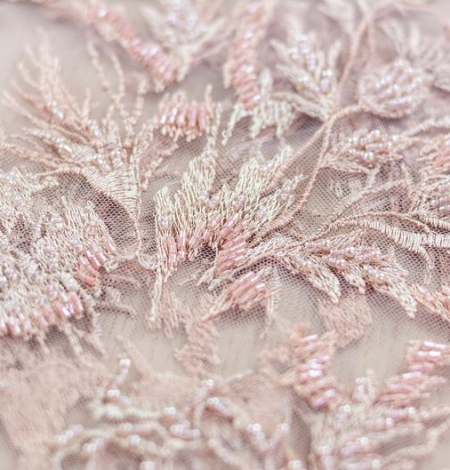 Powder pink beaded embroidery on tulle fabric. Photo 3
