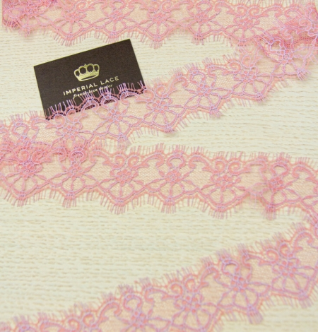 Pink with lilac chantilly lace trimming . Photo 4