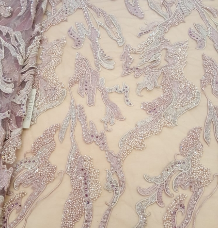 Old rose beaded lace fabric. Photo 2