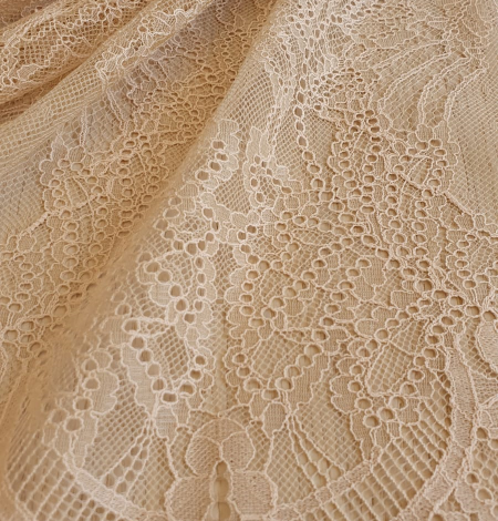 Beige lace fabric. Photo 4