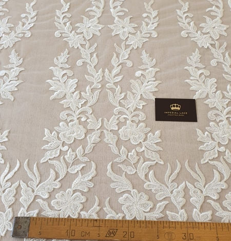 Ivory thick embroidery beaded lace fabric. Photo 9
