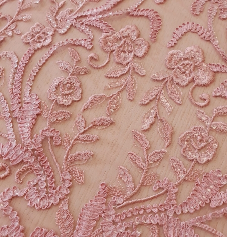 Raspberry pink floral pattern embroidery with sequins on soft tulle fabric. Photo 5