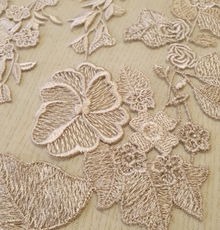 Dark powder nude floral pattern embroidery on tulle fabric. Photo 4