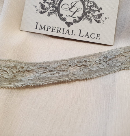 Olive green chantilly lace trimming. Photo 4