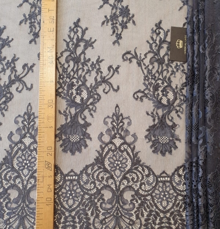 Greyish brown floral pattern chantilly lace fabric. Photo 8