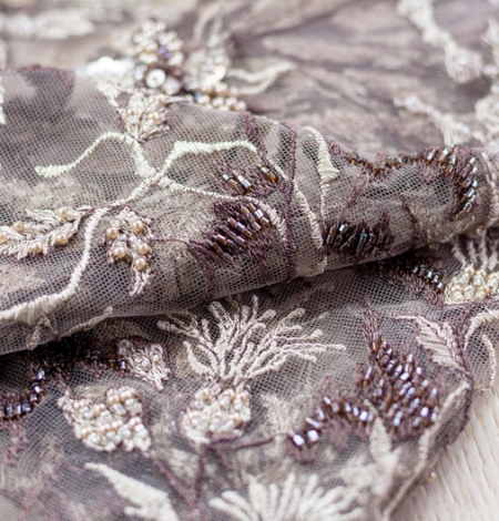 Brown with grey embroidery on tulle fabric. Photo 3
