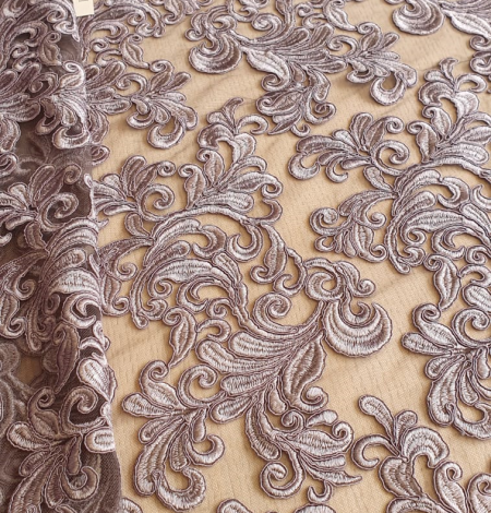 Grey embroidery lace fabric. Photo 1