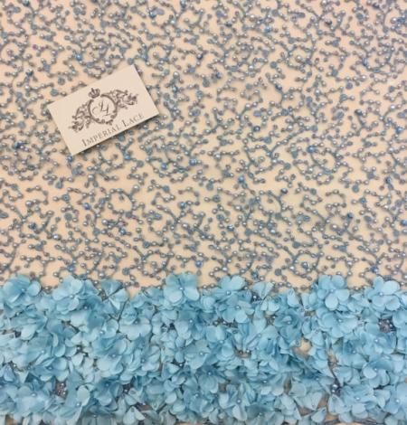 Blue 3D flowers lace fabric. Photo 5