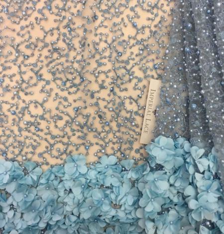 Blue 3D flowers lace fabric. Photo 3