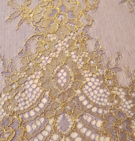 Purple with gold chantilly lace fabric. Photo 3
