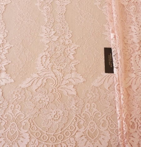 Pink guipure with chantilly lace fabric. Photo 8