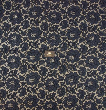 Dark blue floral guipure lace on black organza fabric. Photo 7