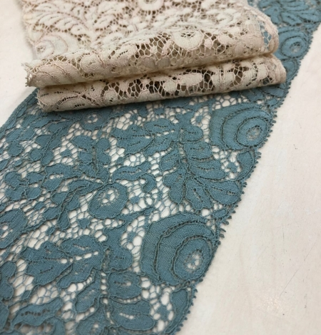 Blue-green with grey shade vintage style lace trim. Photo 1