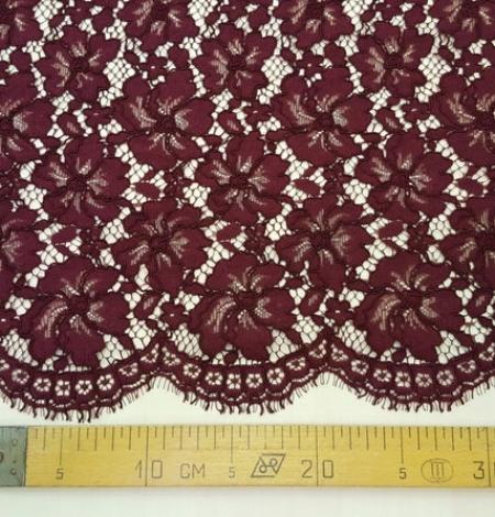 Wine red floral alencon lace fabric . Photo 3