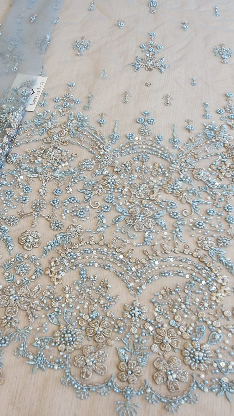 Grey Blue Beaded Lace Fabric 3d Lace Embroidery Lace Fabric From Imperiallace Com