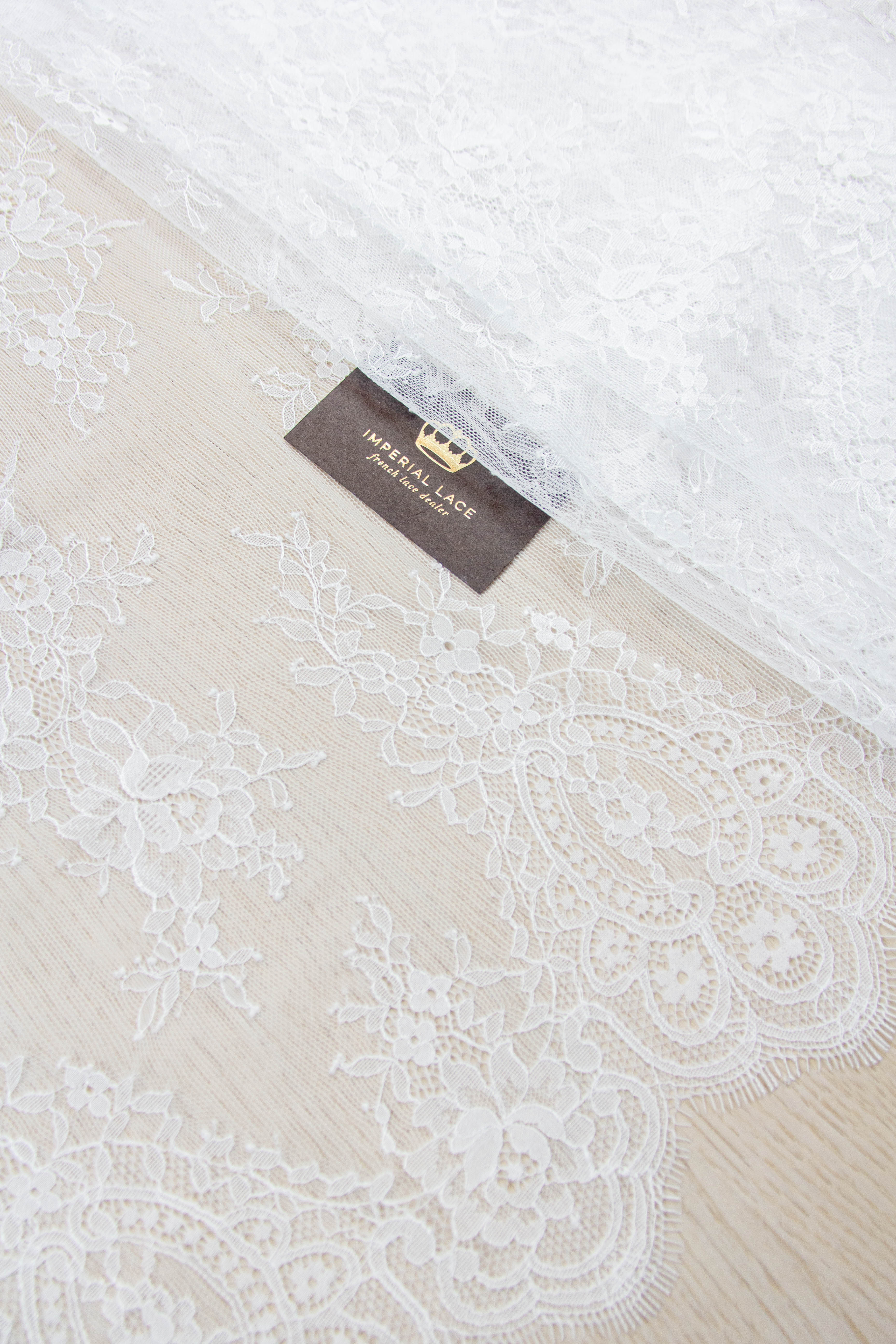 floral lace geometric stripes white chantilly lace B00344 French Lace Off white lace fabric